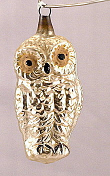 """Early 3 1/2"""" Owl Blown Glass Ornament"""