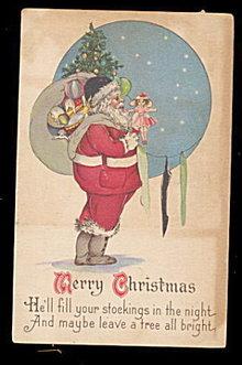 1923 Santa Claus with Toys Postcard