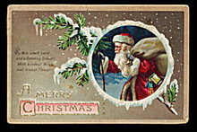 Lovely Ellen Clapsaddle Santa Claus w Bag Postcard
