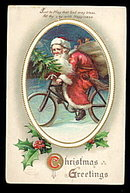 Lovely Ellen Clapsaddle Santa Claus on Bicycle Postcard