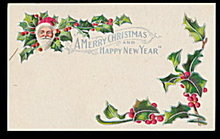 Lovely Merry Christmas Santa Claus in Holly Postcard