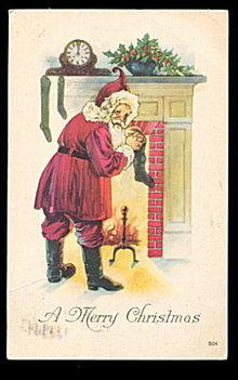 Santa Claus Filling Stockings 1925 Postcard