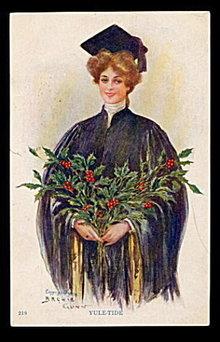 "1907 Archie Gunn ""Yule-Tide"" Girl Postcard"