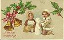 1907 Children Building Snowman Christmas Postcard
