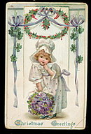 Lovely Tucks Christmas Greetings Girl 1907 Postcard