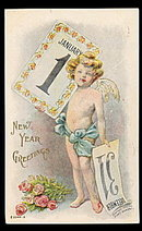 Lovely New Year's Fred Lounsbury 1909 Postcard