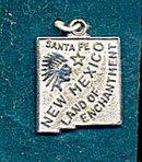 Sterling Silver Santa Fe New Mexico Charm ca 1950s