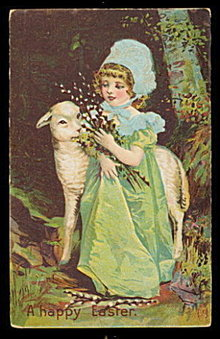 Happy Easter Girl with Lamb 1909 Postcard