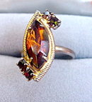 Lovely Intricate Brown Glass Stones Cocktail Ring