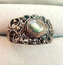 Early .925 Sterling Silver with Abalone Ring