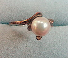 Early .925 Sterling Silver with Faux Pearl Ring