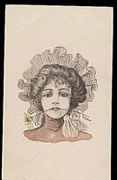 Lovely Artist Girl with Daisy in Mouth 1908 Postcard