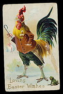 1912 Rooster with Glasses Carrying Cane Easter Postcard