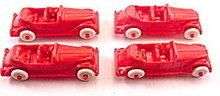4 1950s Hard Plastic Red Cars - Renwal