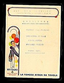 1930 La Mosa Acqua Da Tavola Restaurant Menu