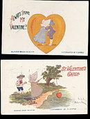2 F. Derbes Sunbonnet Girl Valentine's Day Postcards
