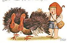 1915 J Ibanez Child with Turkeys Postcard