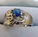 Lovely 18kt HGE Blue Lapiz Stone Ladies Ring