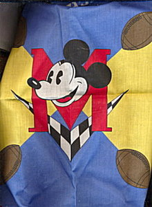 "Vintage 21"" Mickey Mouse 'Touchdown' Bandanna"
