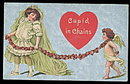 'Cupid in Chains' Girl Valentine's Day 1910 Postcard
