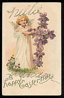 'A Happy Eastertide' Angel Easter 1907 Postcard