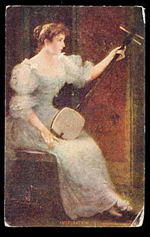 """Inspiration"" Lady w Instrument 1908 Postcard"