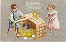 """""""A Joyful Easter"""" Children 1907 Postcard"""