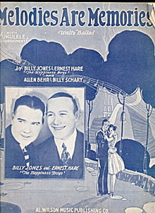 1926 'Melodies are Memories' Billy Jones Sheet Music