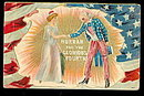 'Hurrah for the Glorious Fourth' Uncle Sam Postcard