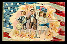 'Hurrah for the Glorious Fourth' Children Postcard