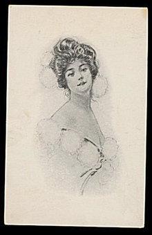 Artist Girl with Fur Balls 1909 Lovely Postcard