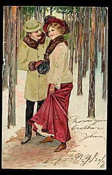 1906 Postkarte Romance Couple in Woods Postcard