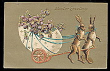 Rabbits Pulling Easter Cart 1910 Postcard