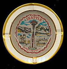 1950s Tin Seattle WA Souvenir Metal Ashtray