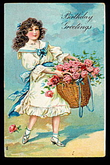 'Birthday Greetings' Girl with Basket 1907 Postcard