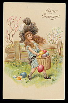 Lovely Easter Girl Collecting Eggs 1908 Postcard