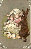 1910 Easter Greetings W/ Furry Brown Rabbit Postcard