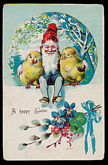 Happy Easter Elf with Chicks 1909 Postcard