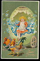 Easter Greetings Girl in Carriage w Chickens Postcard