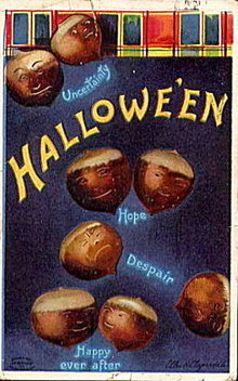 1912 Halloween Ellen Clapsaddle Acorns Postcard