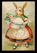Easter Bunny with Baby 1908 Postcard