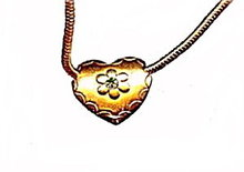 """Lovely 15"""" Goldtone Choker Necklace with Heart"""