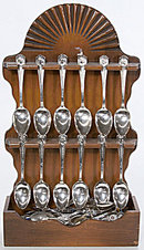 16 William Rogers Presidential Spoons with Holder