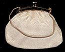 1920s Cream Mesh & Goldtone Purse or Hand Bag