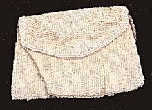Small White Glass Beaded Purse - Early
