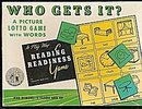 1954 'Who Gets It' Picture Lotto Game with Words