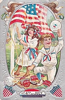 Lovely July 4th Children Raising Flag 1911 Postcard