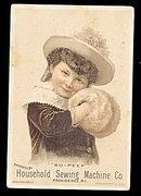 1885 Girl/Muffler Household Sewing Machine Trade Card
