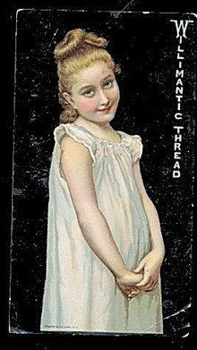 1880s Willimantic Thread Girl in Nightie Trade Card