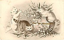 1907 Cats Climbing In Flowers Postcard